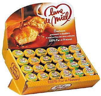 Presentoir de petits pots de miel 48 x 30 g stick a l unite dosette individuelle