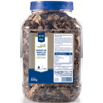 Queues de morilles sechees tubo 500 g metro chef
