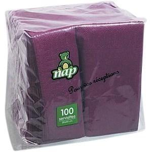 Serviette aubergine en ouate 2 plis 20 x 20 cm le paquet de 100