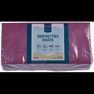 Serviette jetable 2 plis cellulose aubergine 23 x 23 cm x 200