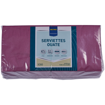 Serviette jetable 2 plis cellulose aubergine 33 x 33 cm x 200