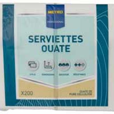 Serviette jetable 2 plis cellulose blanc 33 x 33 cm x 200