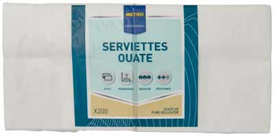 Serviette jetable 2 plis cellulose blanc 33 x 33 cm x 200