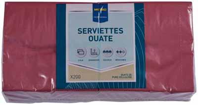 Serviette jetable 2 plis cellulose bordeaux 33 x 33 cm x 200