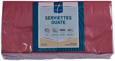 Serviette jetable 2 plis cellulose bordeaux 33 x 33 cm x 200