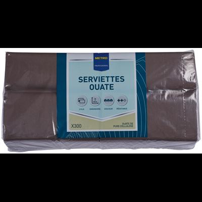 Serviette jetable 2 plis cellulose chocolat 33 x 33 cm x 200