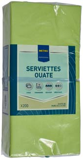 Serviette jetable 2 plis cellulose citron vert 33 x 33 cm x 200