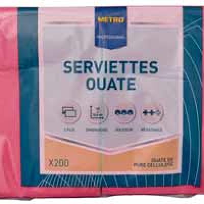 Serviette jetable 2 plis cellulose fuchsia 33 x 33 cm x 200