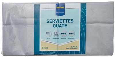 Serviette jetable 2 plis cellulose gris 33 x 33 cm x 200