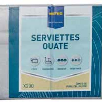 Serviette jetable 2 plis cellulose gris 33 x 33 cm x 200