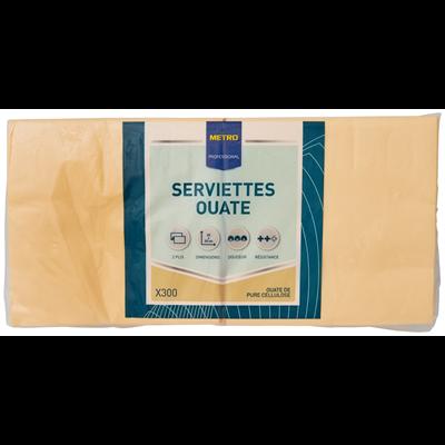 Serviette jetable 2 plis cellulose ivoire 33 x 33 cm x 200