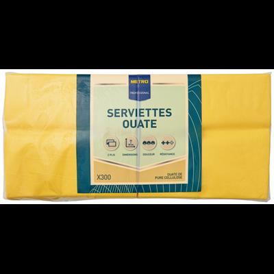 Serviette jetable 2 plis cellulose jaune 33 x 33 cm x 200