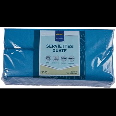Serviette jetable 2 plis cellulose petrole 33 x 33 cm x 200