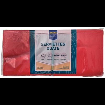 Serviette jetable 2 plis cellulose rouge 33 x 33 cm x 200