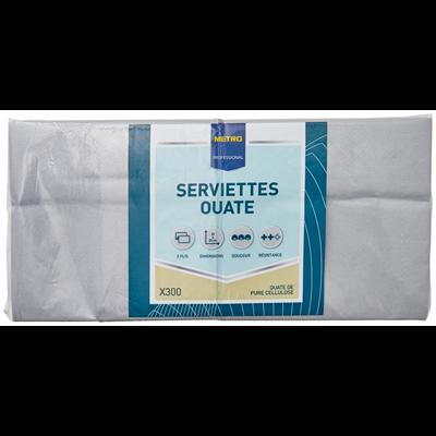 Serviette jetable 2 plis gris 23 x 23 cm x 300