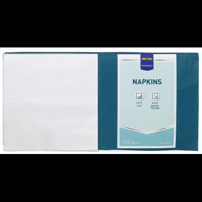 Serviette jetable 2 plis ouate blanc 40 x 40 cm x 251