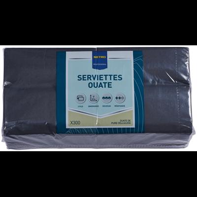 Serviette jetable 2 plis ouate noir 23 x 23 cm x 300