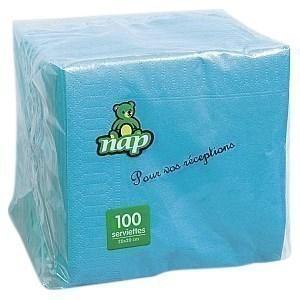 Serviette lagon en ouate 2 plis 20 x 20 cm le paquet de 100
