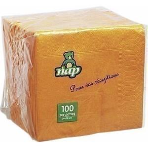Serviette mandarine en ouate 2 plis 20 x 20 cm le paquet de 100