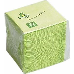 Serviette pistache en ouate 2 plis 20 x 20 cm le paquet de 100