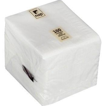 Serviettes cocktail 2 plis blanc 20x20 cm les 100
