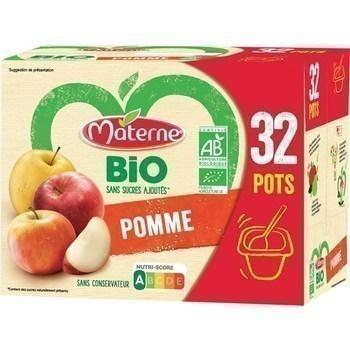 Specialite de pomme sans sucres ajoutes bio 32x100 g materne