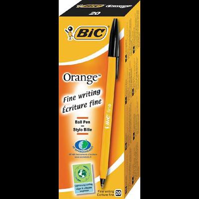 Stylo bille orange noir x 20