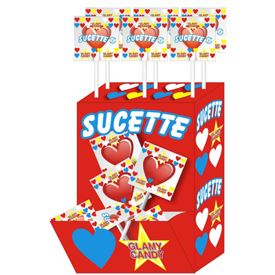Sucette cerise x 80 display glamy candy