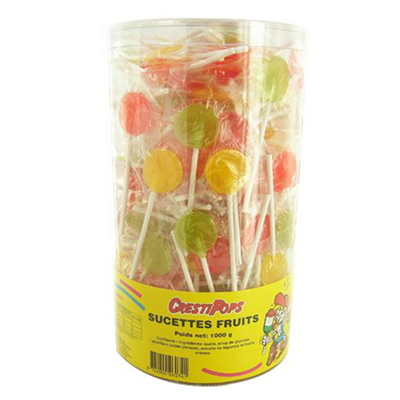 Sucette plate fruits 1 kg cresti pops