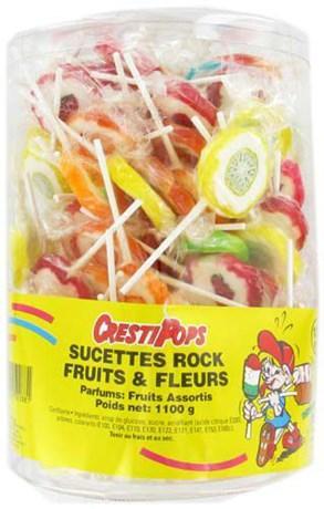 Sucettes rock fruits et fleurs 100 pieces pour professionnels