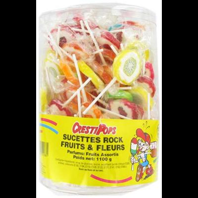 Sucettes rock fruits et fleurs 100 pieces