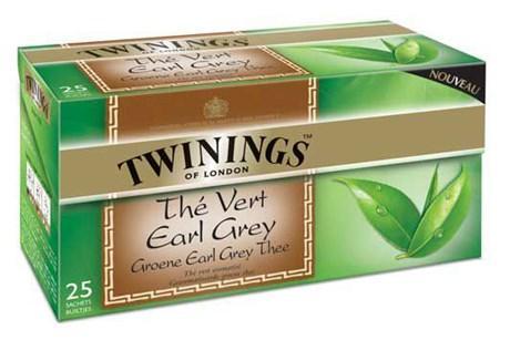 The vert earl grey 25 sachets twinings pour bureau