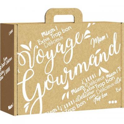 Valisette carton kraft rectangle voyage gourmand blanc 33x18 5x9 5 cm