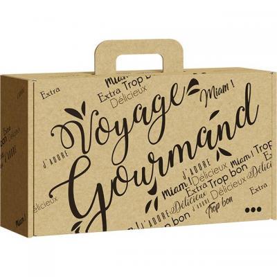 Valisette carton kraft rectangle voyage gourmand noir 33x18 5x9 5 cm regalez vous en cevennes