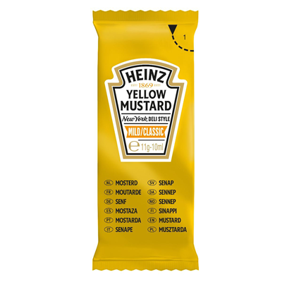 Yellow mustard heinz sachets 200 x 10 ml 1